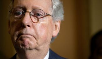 Senate Majority Leader Mitch McConnell of Kentucky speaks to the media during a news conference following a Senate policy luncheon on Capitol Hill in Washington, Tuesday, June 2, 2015. (AP Photo/Andrew Harnik) ** FILE **