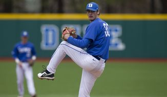Duke right-handed pitcher Michael Matuella delivers a pitch in a game during the 2014 season. (Courtesy of Duke Photography)