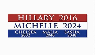 Political pop culture gets complicated; an imaginative bumper-sticker foretells future Democratic candidates. (CAFE PRESS)