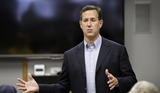 Republican presidential candidate, former Pennsylvania Sen. Rick Santorum speaks during a stop at Panora Telecom Solutions, Monday, June 8, 2015, in Panora, Iowa. (AP Photo/Charlie Neibergall) ** FILE **