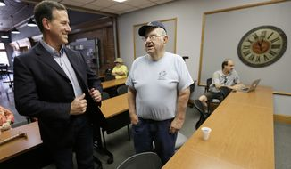 Republican presidential candidate, former Pennsylvania Sen. Rick Santorum talks with Bob Crowl, of Panora, Iowa, during a stop at Panora Telecom Solutions, Monday, June 8, 2015, in Panora, Iowa. (AP Photo/Charlie Neibergall)