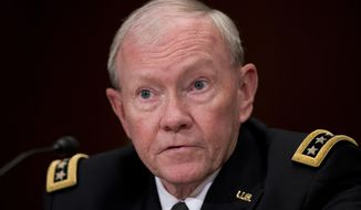 In this photo taken May 6, 2015, Joint Chiefs Chairman Gen. Martin Dempsey testifies on Capitol Hill in Washington. The Obama administration is nearing a decision on how to improve and accelerate training of Iraqi security forces in light of recent setbacks against the Islamic State, including the possibility of new training camps that likely would require a bigger U.S. troop presence, U.S. officials said Tuesday. Dempsey said he has recommended changes to President Barack Obama but he offered no assessment of when decisions would be made. (AP Photo/Manuel Balce Ceneta)