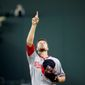 Washington Nationals starting pitcher Blake Treinen points to the sky before throwing his first pitch in the first inning of a baseball game against the Atlanta Braves, Wednesday, Sept. 17, 2014, in Atlanta. (AP Photo/David Goldman)