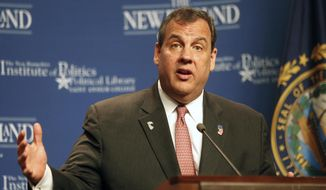 New Jersey Gov. Chris Christie speaks at the Politics and Eggs breakfast meeting at the New Hampshire Institute of Politics at Saint Anselm College, Tuesday, June 9, 2015, in Manchester, N.H. Christie is finishing a two-day swing through the nation's earliest presidential primary state as he considers a run for the Republican nomination for president.(AP Photo/Jim Cole)