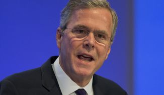 Former US Governor Jeb Bush speaks at the Economic Council in Berlin, Germany, Tuesday, June 9, 2015. The Economic Council is a German business association representing the interests of more than 11,000 small and medium sized firms, as well as larger multinational companies. (AP Photo/Michael Sohn)