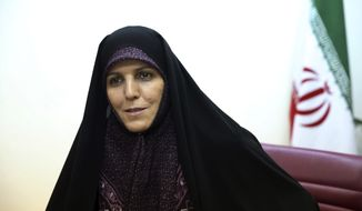 Vice President for Women and Family Affairs Shahindokht Molaverdi speaks in an interview with The Associated Press at her office in Tehran, Iran, Monday, June 8, 2015. (Associated Press) ** FILE **