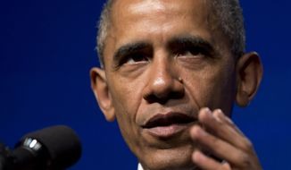 President Barack Obama speaks at the Catholic Hospital Association Conference about healthcare reform, Tuesday, June 9, 2015, at the Washington Marriott Wardman Park in Washington. (AP Photo/Carolyn Kaster)