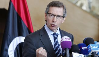 FILE - In this Friday, March 20, 2015 file photo, U.N. special envoy to Libya, Bernardino Leon, speaks during a press conference at the Palais des Congres of Skhirate, 30 kilometers (19 miles) south of Rabat, Morocco. Libya's parliament drops out of U.N.-brokered negotiations in protest against a draft plan for it to share power with its rivals, throwing doubt on what is seen as a last-chance effort to avert the further collapse of the North African nation. (AP Photo/Abdeljalil Bounhar, File)