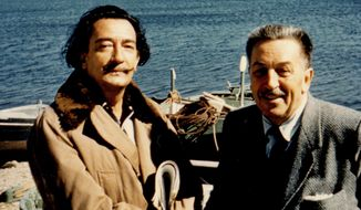 This 1957 photo released by the Walt Disney Family Foundation shows surrealistic artist Salvador Dali, left, and Walt Disney at a beach in Spain. Besides his love of wholesome entertainment, Walt Disney also had an appreciation for the eccentric that led to a short-lived partnership and decades-long friendship with Dali. (Walt Disney Family Foundation via AP)