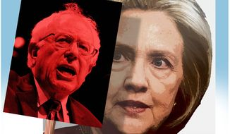 Illustration on radical socialist pressures on Hillary the candidate by Alexander Hunter/The Washington Times