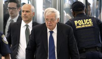 Former House Speaker Dennis Hastert arrives at the federal courthouse Tuesday, June 9, 2015, in Chicago for his arraignment on federal charges that he broke federal banking laws and lied about the money when questioned by the FBI. (AP Photo/Charles Rex Arbogast) ** FILE **