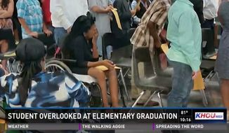 Trinecia Blacklock, a fifth-grader at Link Elementary School, was overlooked at her elementary school's graduation after officials forgot to call her name and failed to put up a ramp so she could cross the stage in her wheelchair with the other students. (KHOU)