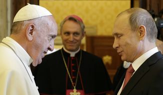 Pope Francis meets Russian President Vladimir Putin on the occasion of a private audience at the Vatican, Wednesday, June 10, 2015. (AP Photo/Gregorio Borgia, Pool)