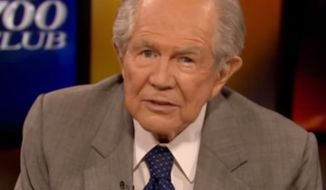 "Christian televangelist Pat Robertson on Tuesday told a grief-stricken mother that her 3-year-old died perhaps in order to prevent another Adolf Hitler or ""some serial killer."" (YouTube/RWW Blog)"