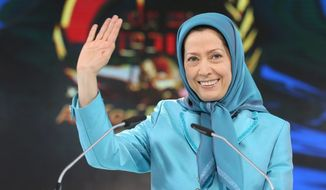 "Maryam Rajavi, the leader of the National Council of Resistance of Iran, says Western powers stand ""against the Iranian people's will."" (Associated Press)"