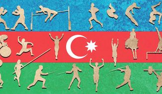Illustration on the 2015 European games in Baku by Alexander Hunter/The Washington Times