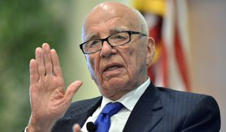 "Rupert Murdoch speaks during a forum on ""The Economics and Politics of Immigration,"" in Boston, in this Aug. 14, 2012, file photo. (AP Photo/Josh Reynolds, File)"
