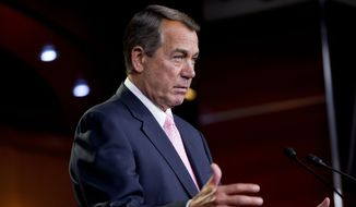 House Speaker John Boehner of Ohio speaks during a news conference on Capitol Hill in Washington, Thursday, June 11, 2015. House Republican leaders are preparing a two-day debate and showdown vote Friday on President Barack Obama's trade agenda, despite heavy Democratic opposition.(AP Photo/Pablo Martinez Monsivais)