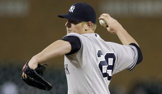 FILE - In this April 22, 2015, file photo, New York Yankees relief pitcher David Carpenter throws during the eighth inning of a baseball game against the Detroit Tigers in Detroit. The Washington Nationals have acquired the right-handed reliever from the Yankees for minor league second baseman Tony Renda on Thursday, June 11, 2015. (AP Photo/Carlos Osorio, File)