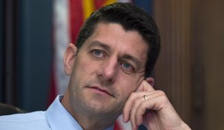 House Ways and Means Committee Chairman Paul Ryan, Wisconsin Republican, answers questions during an interview with The Associated Press in his office on Capitol Hill in Washington on June 9, 2015. (Associated Press) **FILE**
