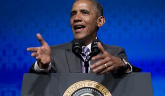 President Obama speaks at the Washington Marriott Wardman Park in Washington on June 9, 2015. (Associated Press) **FILE**
