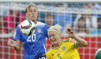 United States' Abby Wambach (20) and Sweden's Nilla Fischer (5) vie for the ball during second-half FIFA Women's World Cup soccer game action in Winnipeg, Manitoba, Canada, Friday, June 12, 2015. (John Woods/The Canadian Press via AP) MANDATORY CREDIT