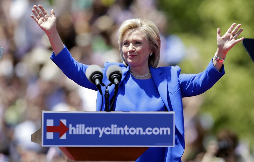 Democratic presidential candidate, former Secretary of State Hillary Rodham Clinton gestures before speaking to supporters Saturday, June 13, 2015, on Roosevelt Island in New York, in a speech promoted as her formal presidential campaign debut. (AP Photo/Frank Franklin II) ** FILE **