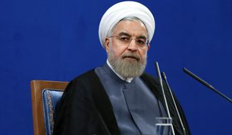 "Iran's President Hassan Rouhani gives a press conference on the second anniversary of his election, in Tehran, Iran, Saturday, June 13, 2015. Rouhani said a final nuclear deal is ""within reach"" as Iran and world powers face a June 30 deadline for an agreement. (AP Photo/Ebrahim Noroozi)"