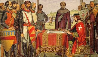 An artistic interpretation of King John's signing the Magna Carta before English barons at Runnymede in 1215