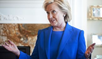 RETRANSMISSION TO CORRECT YEAR - Democratic presidential hopeful, former Secretary of State Hillary Rodham Clinton, speaks during a campaign house party, Saturday, June 13, 2015 in Sioux City, Iowa.  (Justin Wan/The Sioux City Journal via AP)