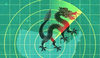 Illustration on China's cyber raids on the U.S. by Greg Groesch/The Washington Times