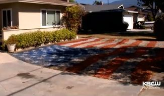 The Deckers in San Jose, California, found a patriotic solution for their brown, unwatered lawn after the city began rationing water usage in the face of crippling drought. (CBS FF)