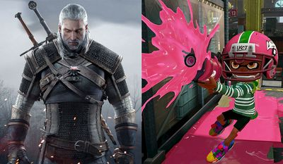 Geralt of Rivia stars in Warner Bros. Interactive Entertainment's The Witcher 3: Wild Hunt and an Inkling from Nintendo's Spaltoon.