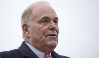 Former Gov. Ed Rendell stands before Tom Wolf takes the oath of office to become the 47th governor of Pennsylvania Tuesday, Jan. 20, 2015, at the state Capitol in Harrisburg, Pa. (AP Photo/Matt Rourke)