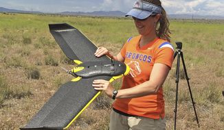 In this photo provided by Jennifer Forbey and taken June 10, 2015, Boise State University Professor Jennifer Forbey examines a drone prior to launch in an area west of Boise, Idaho. (Chelsea Merriman/Courtesy of Jennifer Forbey via AP)