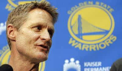 Golden State Warriors head coach Steve Kerr speaks to reporters at the team's practice facility in Oakland, Calif., Thursday, June 18, 2015. The Warriors believe their first title in 40 years could be the first of many more. With their young core signed long-term and MVP Stephen Curry just entering his prime, the Warriors are certainly set up to make several championship runs. (AP Photo/Jeff Chiu)
