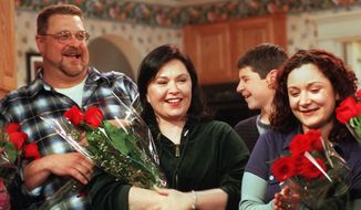 "The character John Goodman (left) played on the sitcom ""Roseanne"" was cited as a positive example of a television father figure amid a glut of working-class bungling TV dads. (Associated Press)"