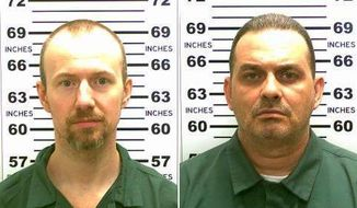 At left, in a May 21, 2015, file photo released by the New York State Police is David Sweat. At right, in a May 20, 2015, file photo released by the New York State Police is Richard Matt. New York State Police are investigating a possible sighting of the two convicted killers who escaped from an upstate New York prison two weeks ago. (New York State Police via AP, File)