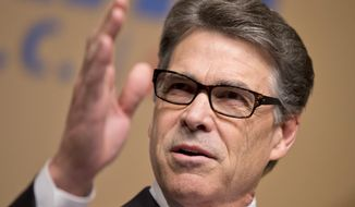 Republican presidential candidate, former Texas Gov. Rick Perry, speaks at the Road to Majority 2015 convention in Washington, Saturday, June 20, 2015. (AP Photo/Manuel Balce Ceneta) ** FILE **