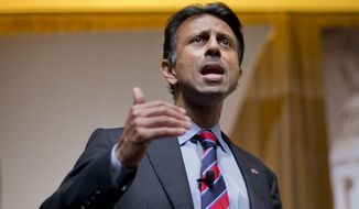 Louisiana Gov. Bobby Jindal speaks at the Road to Majority 2015 convention in Washington on June 19, 2015. (Associated Press) **FILE**