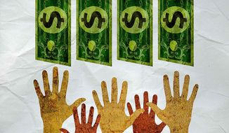 CARE Hands Groping for Cash Illustration by Greg Groesch/The Washington Times