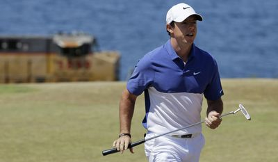 Rory McIlroy, of Northern Ireland, walks off the second green during the final round of the U.S. Open golf tournament at Chambers Bay on Sunday, June 21, 2015 in University Place, Wash. (AP Photo/Ted S. Warren)