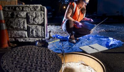 In this 2013 photo provided by the University of Puget Sound, Kathryn Ginsberg collects wastewater that will be tested for trace levels of pharmaceutical drugs from a sewer near Tacoma, Wash. (Ross Mulhausen/University of Puget Sound via Associated Press) **FILE**