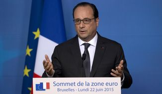 French President Francois Hollande speaks during a media conference at an EU summit in Brussels in this June 22, 2015, file photo. (AP Photo/Michel Euler, File)