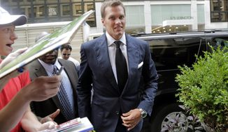 New England Patriots quarterback Tom Brady arrives for his appeal hearing at NFL headquarters in New York, Tuesday, June 23, 2015. Brady and representatives from the players' union are meeting with Commissioner Roger Goodell as the New England quarterback appeals his four-game suspension. (AP Photo/Mark Lennihan)