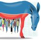 Illustration on the Democratic party's push for socialism by Alexander Hunter/The Washington Times