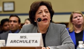 Personnel Management Director Katherine Archuleta testifies on Capitol Hill in Washington, Wednesday, June 24, 2015, before the House Oversight and Government Reform Committee hearing on recent cyber attacks. The OPM is under fire for allowing its databases to be plundered by suspected Chinese cyberspies in what is being called one of the worst breaches in U.S. history. (AP Photo/Susan Walsh)