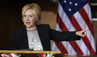 Democratic presidential candidate Hillary Rodham Clinton speaks during a campaign stop at Christ the King United Church of Christ in Florissant, Mo., on June 23, 2015. (Associated Press) **FILE**