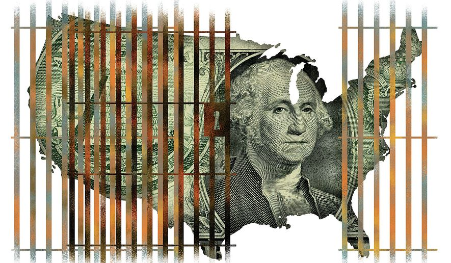 Illustration on the fiscal wisdom of Federal prison system reform by Linas Garsys/The Washington Times