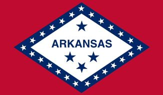 """The blue star above """"ARKANSAS"""" represents the Confederate States of America, which Arkansas joined in secession."""